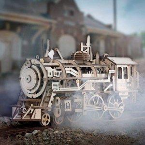 """$24.99(原价$49.99)ROKR 3D DIY 复古蒸汽火车头,上发条就""""活""""起来"""