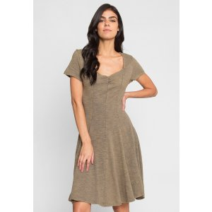 Wet Seal$20 off with $40 PurchaseHome Acid Wash Dress in Olive - Look Stunning | Wet Seal