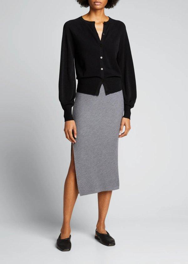 羊毛针织半身裙