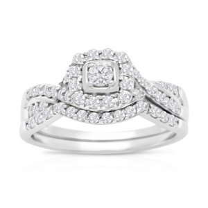 SuperJeweler1/2 Carat Halo Diamond Bridal Set in 14 Karat White Gold