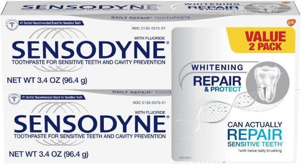 Sensodyne 美白敏感修复牙膏,3.4oz 2支