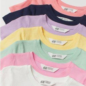 $25.99(原价$39.99)/7件折扣升级:H&M 童款7件彩色印花T恤热卖 承包孩子一周好心情