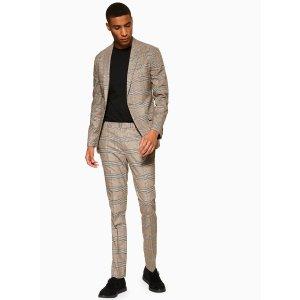 Topman2 Piece Stone Heritage Check Slim Fit Suit With Peak Lapels