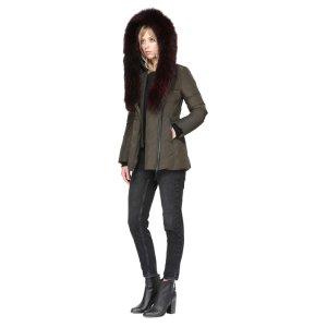 Mackagefitted winter down coat with fur hood