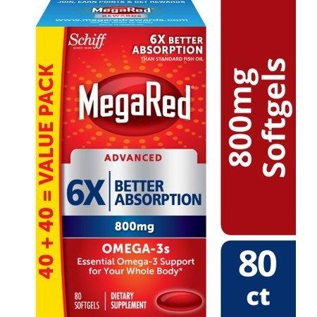 Advanced 6倍吸收Omega-3鱼油800 Mg, 80粒x2盒
