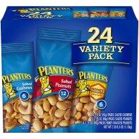 Planters 坚果组合包装 24袋 盐味花生+蜂蜜烤花生+盐味腰果