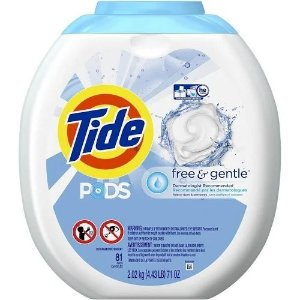 TideTide PODS Laundry Detergent Pacs, Free & Gentle - 81 count tub