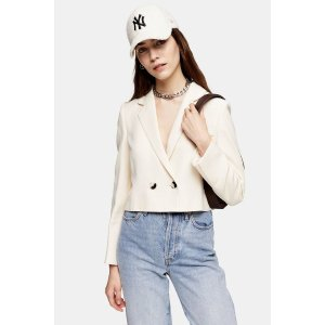 TopshopIvory Crop Double Breasted Suit Blazer