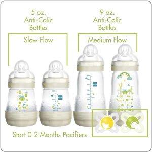 $17.88MAM Newborn Bottle Feeding Set - 4 Anti-Colic Bottles & 2 Newborn Pacifiers - Ivory Color