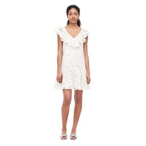Adriana Embroidered Ruffle Dress | Rebecca Taylor