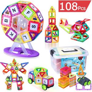 $38.39 (原价$47.99)闪购:Kingstar 儿童益智3D磁力积木 108片