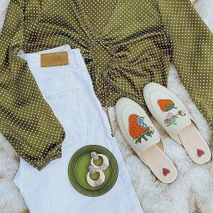 无门槛7.5折+送旅行包Gucci 复古美鞋热卖 Logo运动鞋、Sylvie乐福鞋$299
