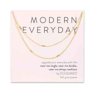 Dogearedmodern everyday long multi-bar necklace, gold dipped