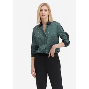 LILYSILKChic Contrast Color Floral Silk Blouse