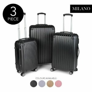 MilanoPremium 3pc ABS Luggage Suitcase 3件套