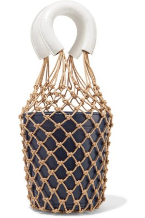 STAUD | Moreau leather and macramé bucket bag | NET-A-PORTER.COM