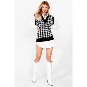 Dogtooth Check Knitted Tank Vest | Nasty Gal