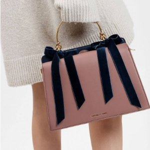 $89VELVET BOW DETAIL HANDBAG @ Charles & Keith
