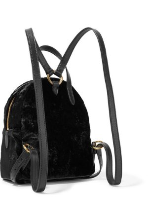 Miu Miu | Leather-trimmed velvet backpack | NET-A-PORTER.COM