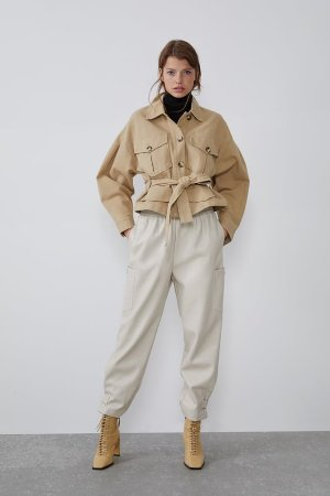 FAUX LEATHER SLOUCHY PANTS - View all-PANTS-WOMAN | ZARA United States