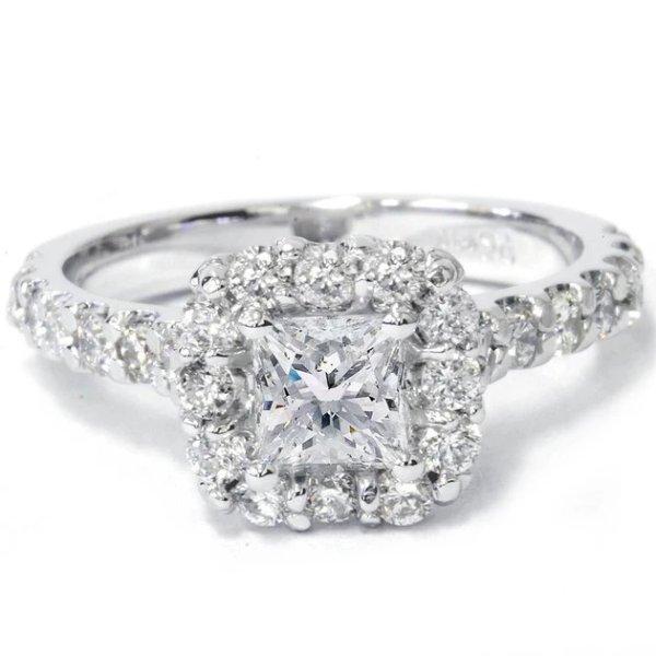 14K白金1 1/10 Ct 钻石戒指