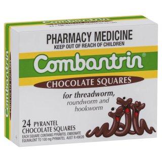 会员日满减AU$10+包税免邮中国Combantrin  儿童打蛔虫巧克力,24块装¥84,妈妈放心之选