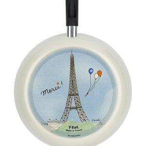 $40(原价$69.95)不沾、防污、耐用Tefal 法国平底锅26cm 锅底巴黎铁塔印画