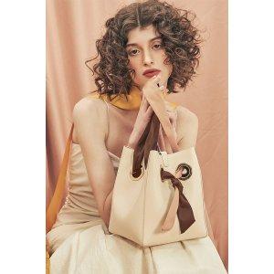 unitudeRibbon丝带方形水桶包 - 奶油色/粉棕丝带