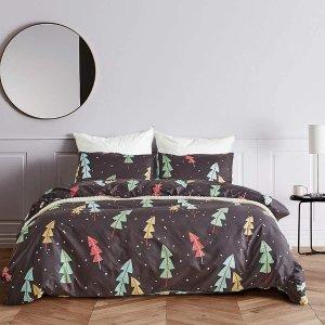 Fire Kirin 雪地圣诞树图案床品3件套 Queen尺寸
