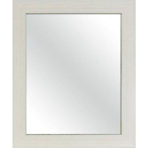 33-in L x 27-in W White Woodgrain Beveled Wall Mirror