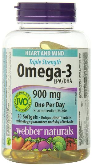 $14.62Webber Naturals Omega-3三倍强效深海鱼油软胶囊80粒