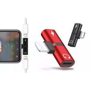 5.77/只!2只耳机充电转换器(红+黑)