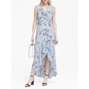 Banana RepublicFloral Ruffle-Wrap Maxi Dress