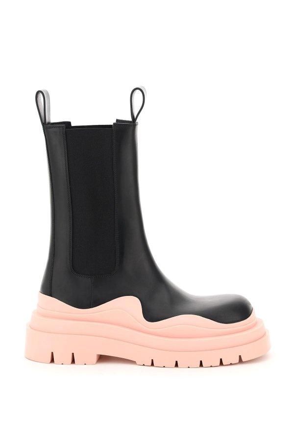 樱花粉厚底靴