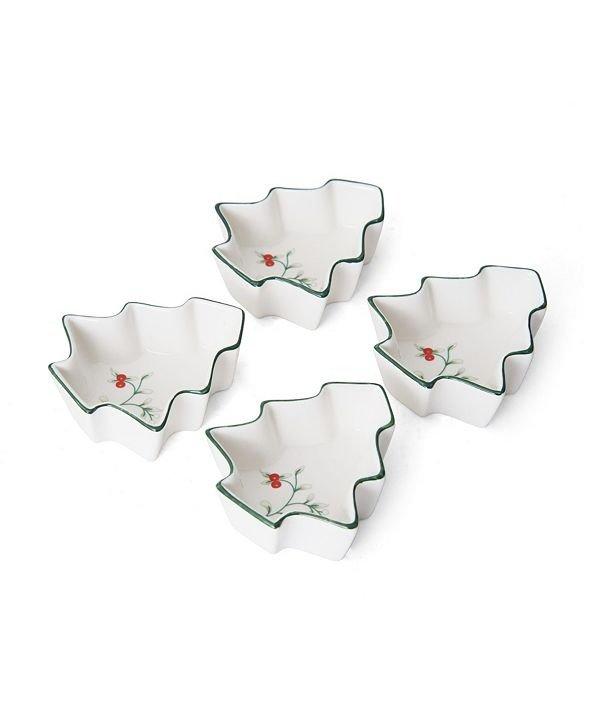 圣诞树造型陶瓷蘸料盘4个