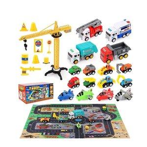 5折 $12.49收HONYAT 12辆工程车+4架飞机+塔吊+游戏垫玩具套装