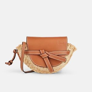 LoeweGate Mini Straw & Leather Shoulder Bag