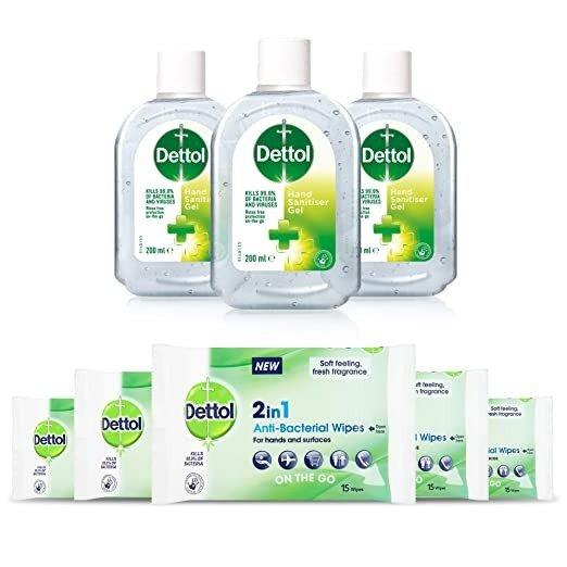 免洗洗手液3支+湿巾5包套装