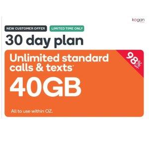 仅需$0.99Kogan Mobile 30天+40GB流量+澳洲电话任打