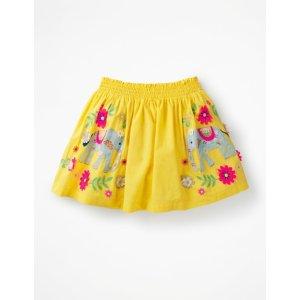 BodenBright Embellished Skirt - Sweetcorn Yellow Elephants | Boden US