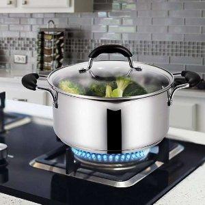 $21.99(原价$49.99) 免税史低价:EPPMO 5夸脱 不锈钢汤锅 家庭厨房必备