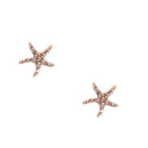 Rose Gold Embellished Starfish Stud Earrings