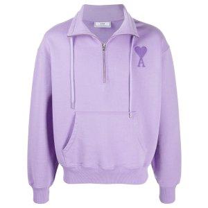 Ami半拉链香芋紫卫衣