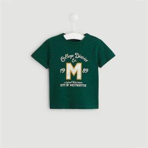 绿色字母T恤