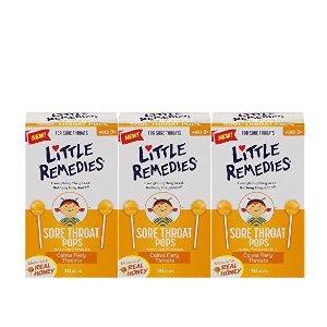 8.5折+额外9.5折+包邮    $9.27收3盒Little Remedies 儿童天然蜂蜜润喉棒棒糖 10支 3盒装