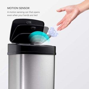 低至8折 多色可选$51.99起Ninestars 红外感应垃圾箱 不锈钢底座 12L容量 卫生无接触