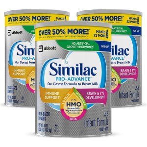SimilacPro-Advance Non-GMO Infant Formula with Iron, with 2'-FL HMO, for Immune Support, Baby Formula, Powder, 36 oz, 3 Count (One-Month Supply)