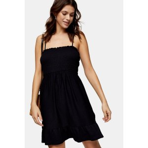 Black Shirred Flippy Mini Dress