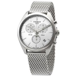 Extra $100 OffTISSOT PR 100 Chronograph Silver Dial Mesh Bracelet Men's Watch