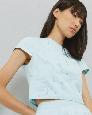 Burn out floral cropped top - Pale Blue | Tops & Tees | Ted Baker